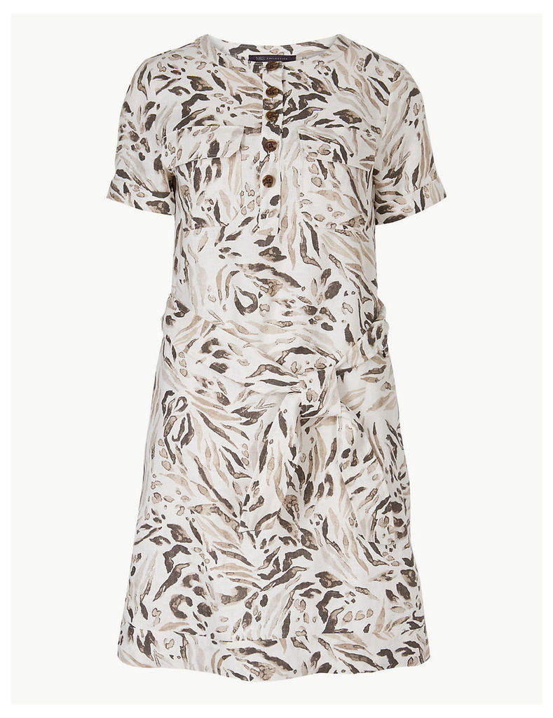 M&S Collection Pure Linen Animal Print Shirt Mini Dress