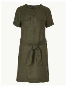 M&S Collection Pure Linen Mini Shirt Dress