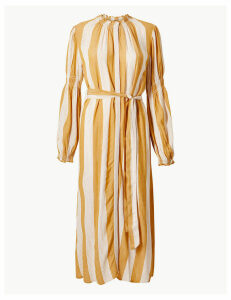 M&S Collection Striped Tie Waisted Midi Dress