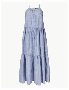 M&S Collection Pure Cotton Striped Slip Midi Dress