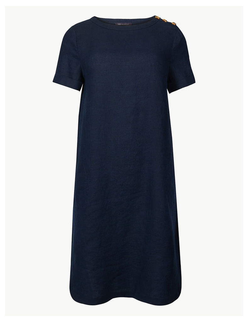 M&S Collection Pure Linen Shoulder Button Shift Dress