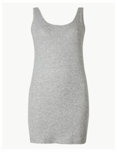 M&S Collection Cotton Rich Slub Longline Fitted Vest Top