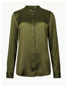 M&S Collection Pure Silk Button Detailed Shirt