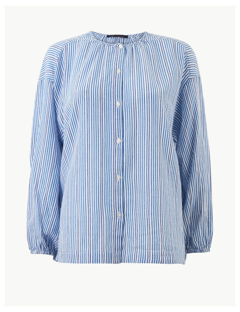 M&S Collection Pure Cotton Striped Round Neck Blouse