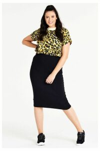 Womens Simply Be Jersey Midi Tube Skirt -  Black