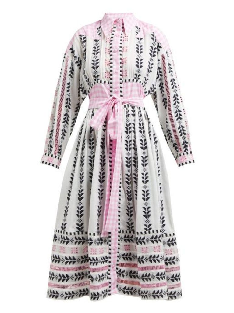 Dodo Bar Or - Constanza Geometric Embroidered Cotton Midi Dress - Womens - Pink Multi