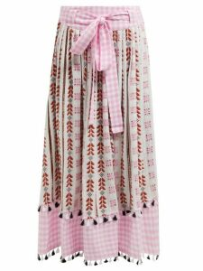 Dodo Bar Or - Antonella Embroidered Cotton Skirt - Womens - Pink Multi