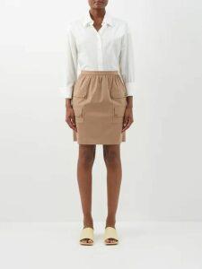 Prada - Cut Out Cotton Poplin Shirt - Womens - Blue