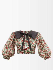 Fendi - Leaf Jacquard Midi Skirt - Womens - Gold Multi