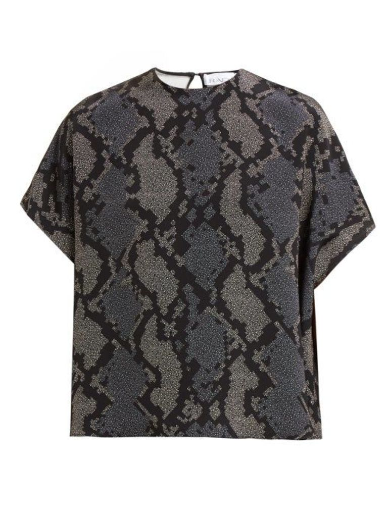 Raey - Square Geo Snake Print Silk Top - Womens - Navy Print