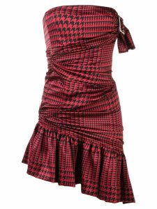 Alexandre Vauthier strapless houndstooth dress - Red