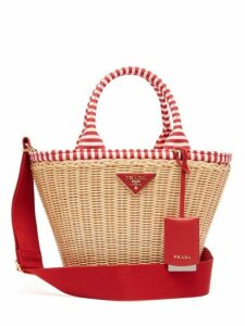 Prada - Wicker And Canvas Basket Bag - Womens - Red Multi