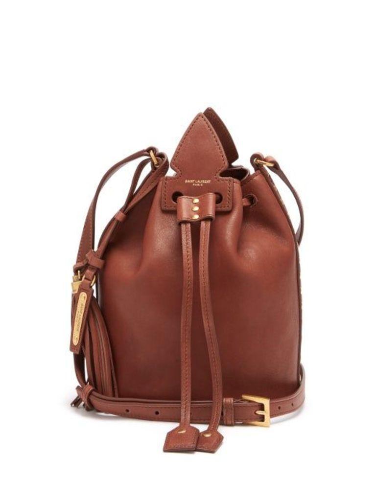 Saint Laurent - Anja Studded Leather Bucket Bag - Womens - Tan Multi
