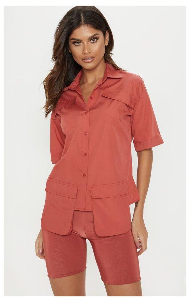 Burnt Orange Cargo Pocket Short Sleeve Shirt, Orange