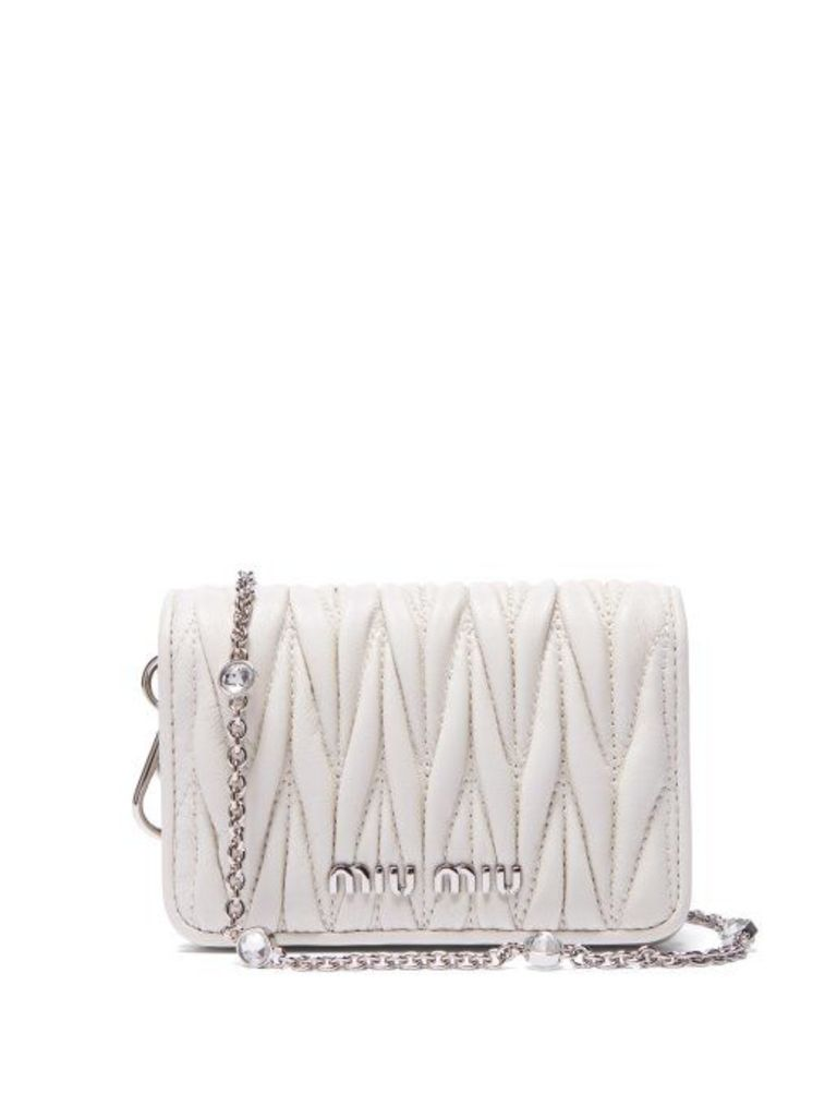 Miu Miu - Mini Mattelassé Leather Cross Body Bag - Womens - White