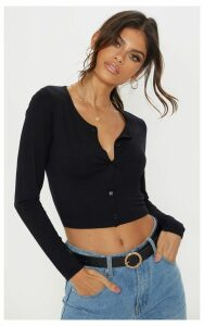 Black Button Front Long Sleeve Crop Top, Black
