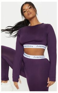 PRETTYLITTLETHING Plus Aubergine  Band Long Sleeve Crop Top, Purple