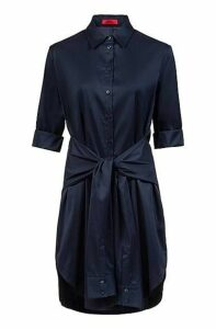 Regular-fit dress with knotted-sleeve belt