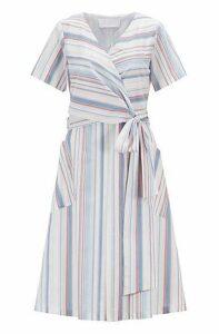 Regular-fit dress with tie waist in striped cotton