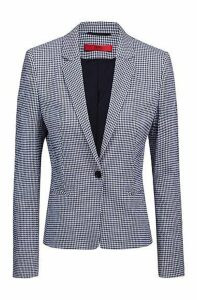 Regular-fit blazer in a checked stretch-cotton blend