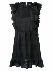 Ulla Johnson embroidered ruffle dress - Black