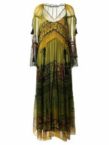 Alberta Ferretti drawstring waist dress - Green