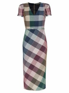 Roland Mouret Chaney stretch check print fitted dress - Multicoloured