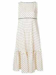 Talbot Runhof polka dot ruffle dress - White