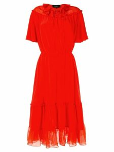 Rochas chiffon-panelled crepe dress - Red