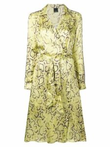 Pinko snake print wrap dress - Yellow