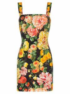 Dolce & Gabbana Cady floral print sleeveless mini dress - Yellow