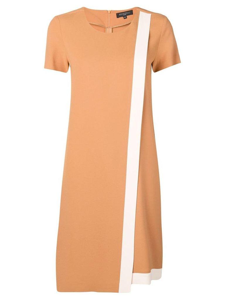 Antonelli wrap-style contrast panel dress - Brown