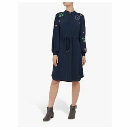 Ted Baker Colour By Numbers Dioss Embroidered Shirt Dress, Navy Blue