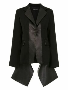 Gloria Coelho leather panelled blazer - Black