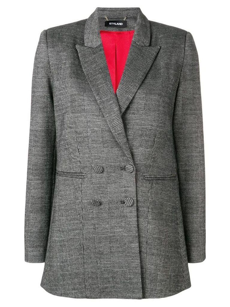 Styland check print blazer - Black