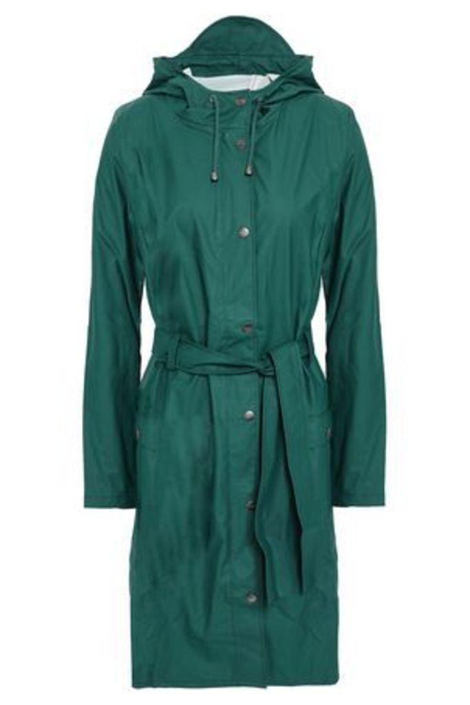 Rains Woman Coated Pvc Hooded Jacket Emerald Size S/M