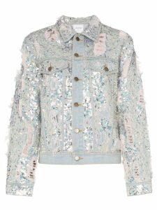Ashish sequin embellished ripped denim jacket - Metallic