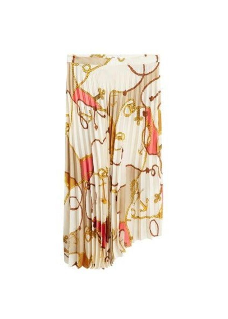 Chain print pleated skirt