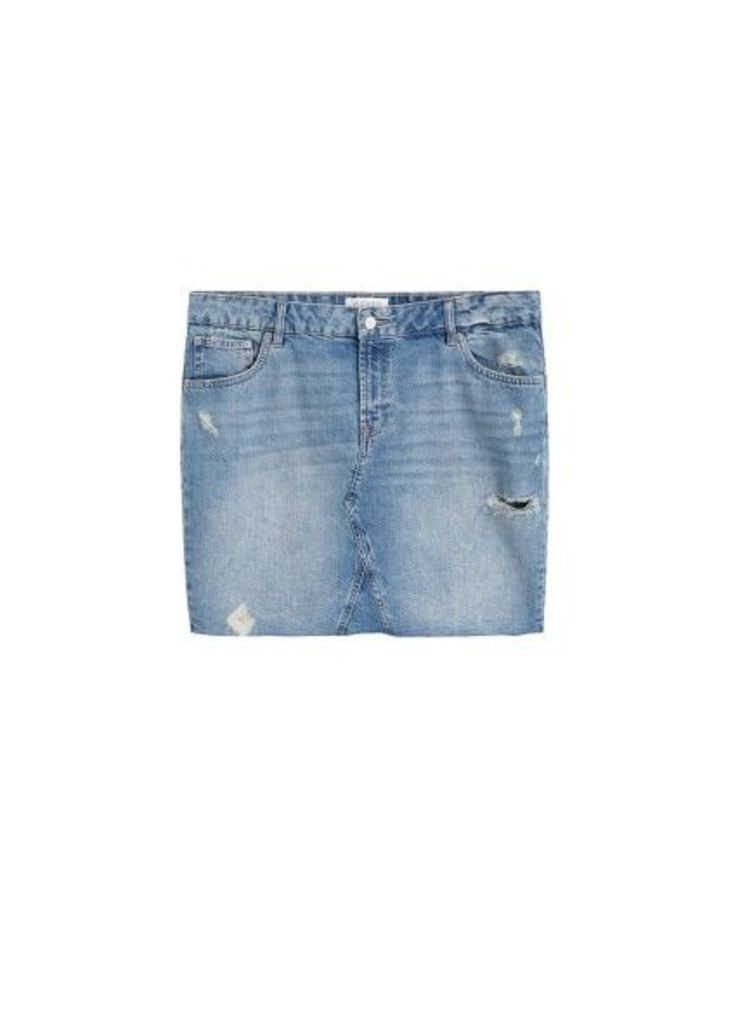 Ripped-detail denim skirt