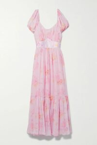 Saloni - Lea Floral-print Silk Crepe De Chine Dress - Pink