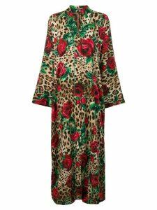 Dolce & Gabbana long leopard print kimono - Brown