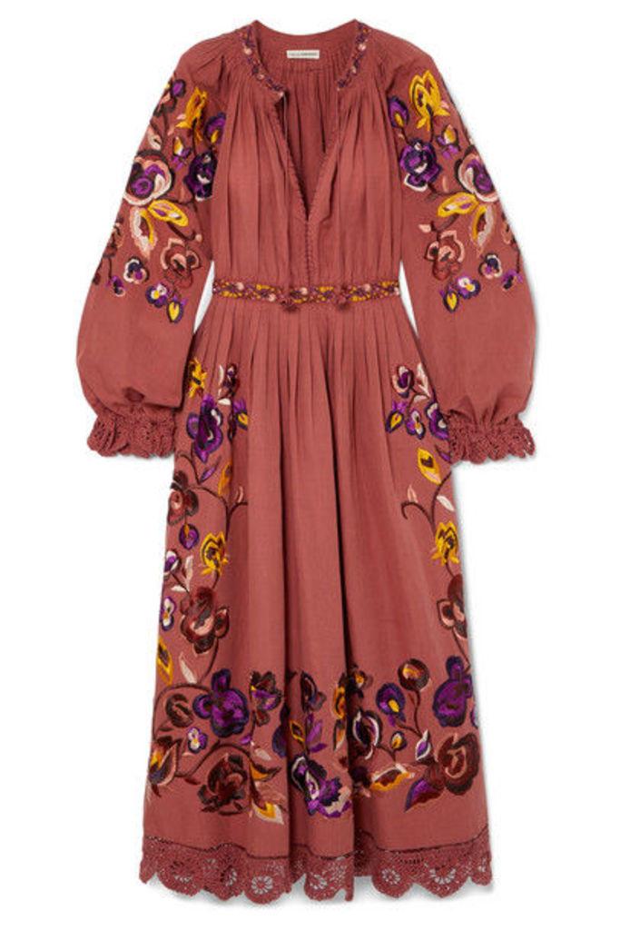 Ulla Johnson - Miro Embroidered Linen And Cotton-blend Midi Dress - Orange