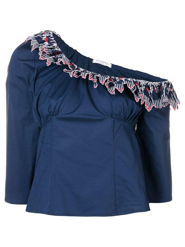Vivetta one shoulder ruffle trim top - Blue
