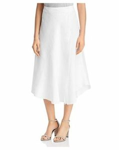 Three Dots Linen Wrap Midi Skirt
