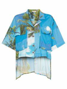 Natasha Zinko hawaiian print dip hem shirt - Blue
