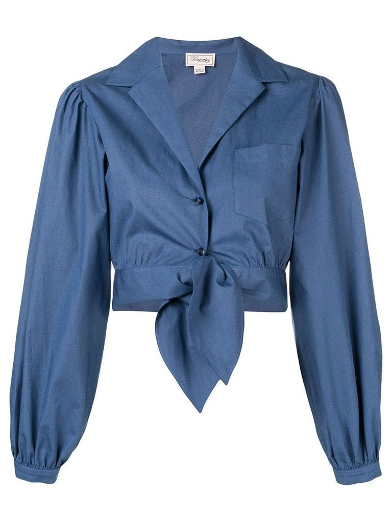 Temperley London Isla cropped shirt - Blue