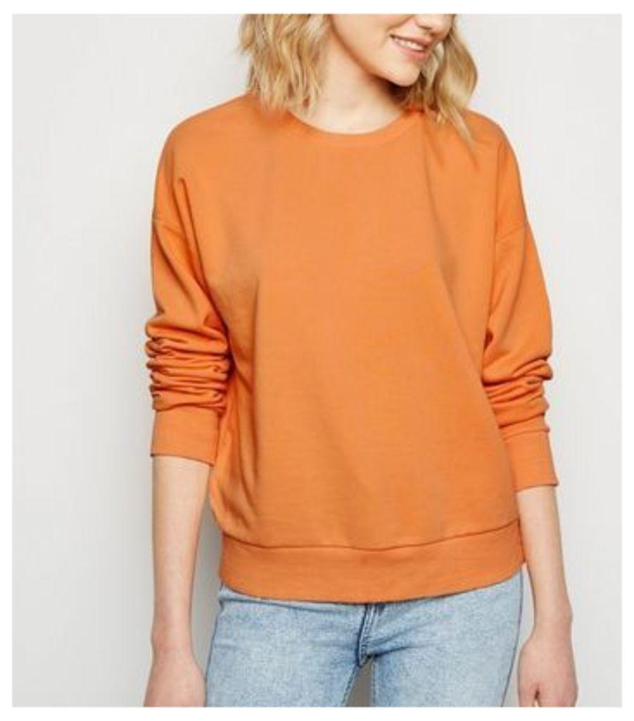 Orange Acid Wash Sweatshirt New Look
