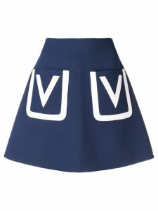 Valentino A-line V detail skirt - Blue