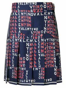 Valentino logo print skirt - Blue
