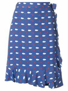 Vivetta clouds and lips print ruffle trim skirt - Blue
